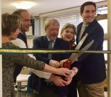 RIOC's Susan Rosenthal, L.S. Power's Dominic DiBari, CBN's Bill Dionne and Lisa Fernandez, and City Council Member Ben Kallos cut the ribbon for the RISC Sewing Studio.